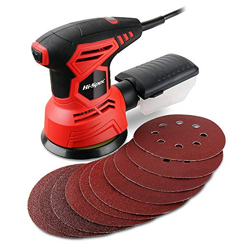 Hi-Spec 2A 240W Random Orbital Palm Sander. Compact Dual Action Non-Swirl Sanding of Old Paint, Varnish, Rust & More. A Rapid 12,000rpm with 10 Disc Papers