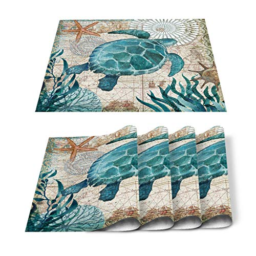 Sea Turtle Placemats Set of 6, Cotton Linen Heat Resistant Table Mats Non-Slip Washable Nautical Theme Ocean World Blue Sea Turtle Plants Placemat for Holiday Banquet Dining Table Kitchen Decor