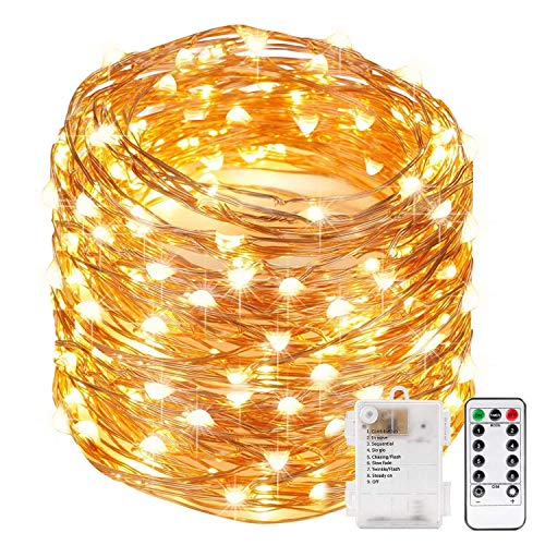 Xergy 10M 100 Led String Fairy Light Powered by Battery Box And Remote , 8 Mode Functions Copper Wire Lights with battery for Home Decoration Valentine Birthday Christmas Tree Festival rice (Warm White) - Battery not included