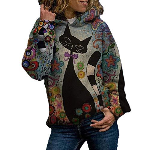 Jersey con Capucha de Manga Larga con Estampado de Gato de Dibujos Animados suéter de Mujer Suelta de Longitud Media