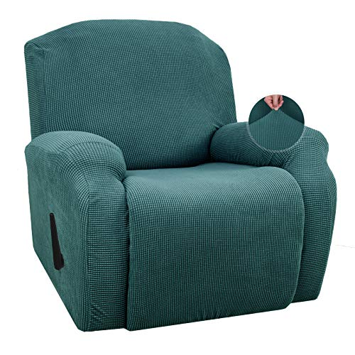 JIVINER Super Stretch Recliner Chair Covers 4 Pieces Sofa Slipcover for Recliner Chair Spandex Soft Recliner Slipcover with Pockets Recliner Furniture Protector (Recliner, Blackish Green)