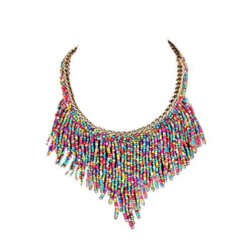 DELEY Bohemio de Acrílico de la Semilla de Perlas de la Borla Grueso Collar de Gargantilla Declaración Collar Colgante Colorido
