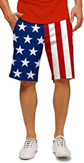 Loudouth Golf - StretchTech Poly - John Daly Fun 4th of July Patriotic Stars & Stripes Men's Short - Knee Length, 11