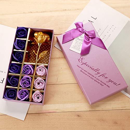 AOI Juego de Regalo romántico, 12 Flores de jabón y Rosas Doradas con Caja de Regalo para Fiesta de cumpleaños, Día de la Madre, Día de San Valentín, Aniversario (Degradado de Color púrpura)