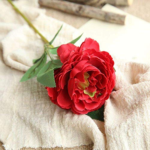 WYJW Western Rose Core Peony Single Head Simulation Flower/Home Decoration Wedding Holding Flower Fake Flower/6 Pcs/Big Red