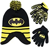DC Comics Boys Batman Winter Hat 2 Pair Gloves or Mittens Set (Toddler/Little Boys) Age 4-7 Batman Black/Yellow Glove