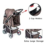 comiga Pet Stroller, 3-Wheel Cat Stroller, Foldable Dog Stroller with Removable Liner and Storage Basket, for Small-Medium Pet,Coffee 13
