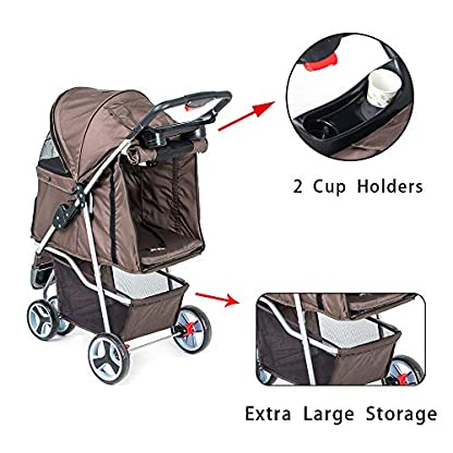 comiga Pet Stroller, 3-Wheel Cat Stroller, Foldable Dog Stroller with Removable Liner and Storage Basket, for Small-Medium Pet,Coffee 6