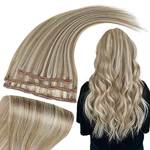 RUNATURE Clip Blonde Dans Les Cheveux 50g 12 Pouces Pince à Cheveux Humains 30cm Couleur 8P60 Marron Cendré Melanger Avec Blond Platine 3pcs Cheveux Raides Clip Cheveux Extensions