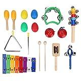 Instrumentos musicales para niños pequeños, juego de juguetes musicales, juguetes de percusión de madera para niños y niñas, incluye xilófono