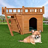 2-Story Wooden Dog House Shelter, Weather Resistant Pet Cat Room with Climbable Stairs and Balcony Bed, Indoor and Outdoor Use, Orange
