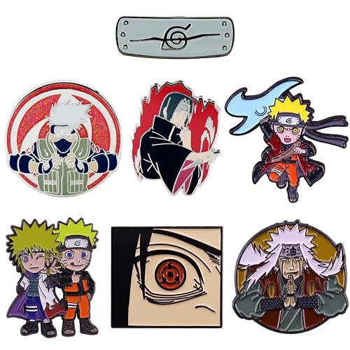 MayDee 7 Piezas Ninja broches alfileres Uzumaki Naruto Hatake Kakashi Sasuke Las Insignias de Dibujos Animados de Sharingan
