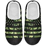 Linomo Zapatillas de camuflaje vintage con bandera americana para mujeres, zapatillas de casa para mujer, zapatos de interior, multicolor, 41/42 EU