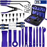 PTSTEL 95Pcs Trim Removal Tool Car Panel Door Audio Trim Removal Kit Multiple Auto Clip Pliers Fastener Remover Set Pry Puller Crowbar Car Upholstery Terminal/Stereo Repair Blue with Storage Bag