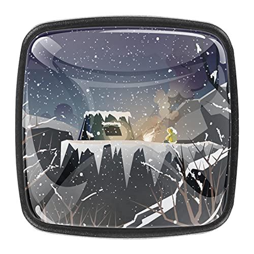 4 st skåphandtag dörr låda kök skåp byrå knoppar berg camping kulle trä vinter kristallglas