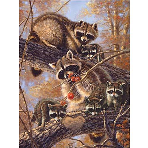 MBYWQ boom eekhoorn diamant schilderij kruis steek volledige ronde strass diamant mozaïek op maat diamant borduurwerk muur Sticker & muurschildering 40 * 50cm