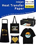 "9. Iron-On Heat Transfer Paper for Dark Fabric 20 Pack 8.3x11.7"" T-Shirt Transfer Paper for Inkjet Printer Wash Durable, Long Lasting Transfer, No Cracking"