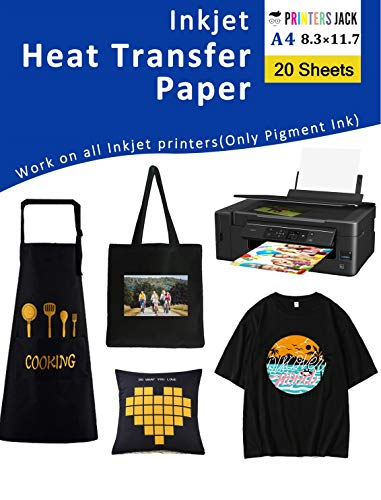 """Iron-On Heat Transfer Paper for Dark Fabric 20 Pack 8.3x11.7"""" T-Shirt Transfer Paper for Inkjet Printer Wash Durable, Long Lasting Transfer, No Cracking"""