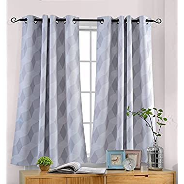 MYSKY HOME 3D Geometry Fashion Design Print Thermal Insulated Blackout Curtain with Grommet Top for Living Room, 52 by 63 inch, Grey - 1 Panel