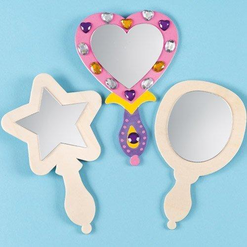 Baker Ross spiegel van hout voor kinderen om te beschilderen en te decoreren - voor prinsessen en themafeest (3 stuks)