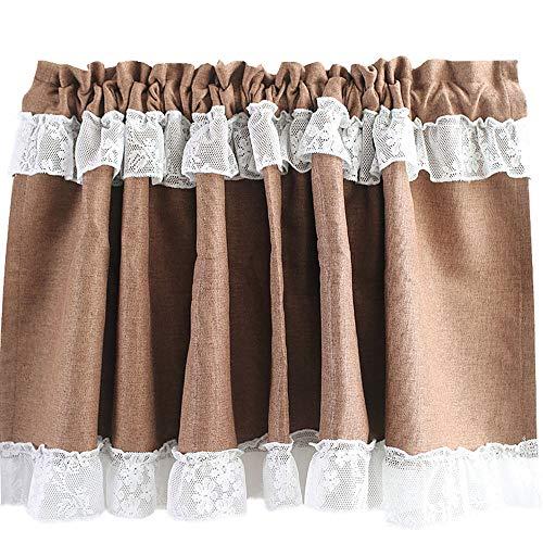 Cafe Curtains Tende a Vela e da Bistrot Tenda Corta per Finestra Cotone E Lino Stile Rustico Mezza Tenda Oscurante Mezza Tendina 130×60cm
