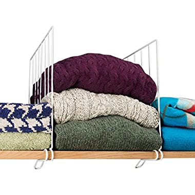 Evelots Set of 8 New Improved Shelf Dividers, Wire Clothing Organizer