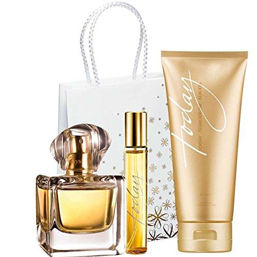 Avon Today Set Eau de Parfum Spray 50ml für Sie + Taschenspray 10ml + Körperlotion 150ml mit Geschenktasche Geschenkset