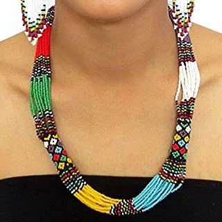 African Zulu beaded short necklace – Multicolour with purple - Gift for her