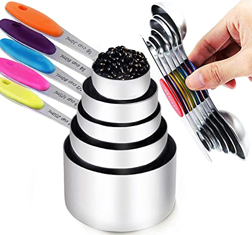 TILUCK Measuring Cups and Magnetic Measuring Spoons Set Stainless Steel Dry Measuring Cups 5 Measuring Cups & 6 Double Sided Stackable Magnetic Measuring Spoons & 1 Leveler … (11)