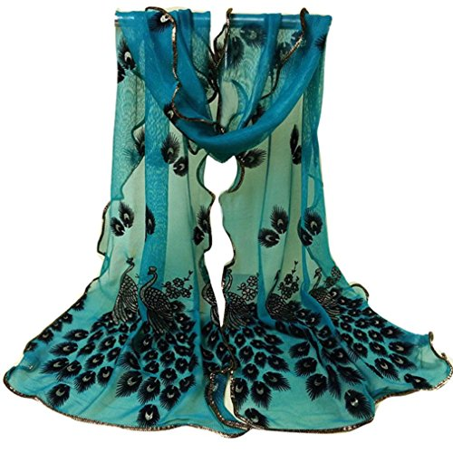 Scarf,Han Shi Women Peacock Flower Long Soft Wrap Shawl Embroidered Lace Shawl Wraps (L, Green)