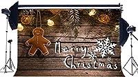 HD 10x7FT / 300x210cmビニール写真撮影の背景メリークリスマスGingersnap文字列輝く電球木製の床クリスマス背景子供大人新年あけましておめでとうございます背景写真スタジオ小道具CA668