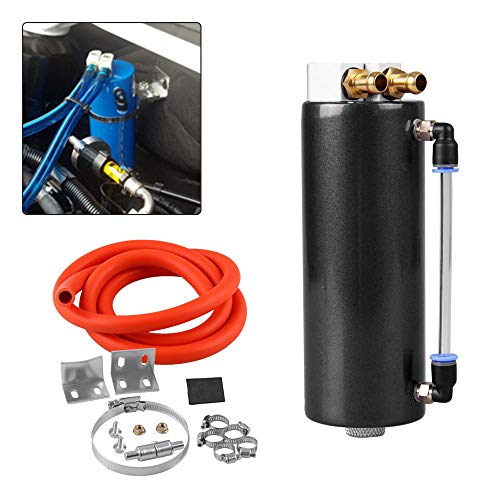 Universal Aluminum Racing Engine Oil Catch Tank CAN Kit Turbo Reservoir Billet Round 350ML Black