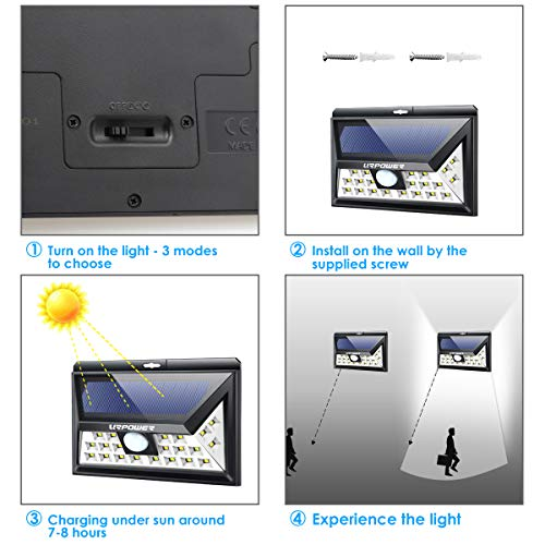 URPOWER Solar Lights Outdoor Upgraded 3 Modes Wide Angle Solar Lights 4 PACK