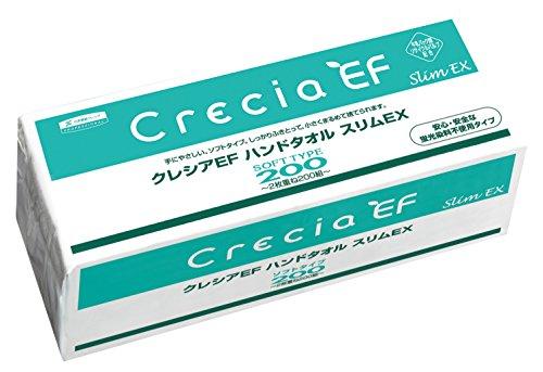 【ケース販売】 クレシア EF ハンドタオル ソフトタイプ スリムEX 小判サイズ 2枚重ね 200組(400枚)/パック ×36パック入 37030