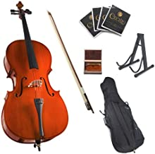 Cecilio CCO-100 Student Cello with Soft Case, Stand, Bow, Rosin, Bridge and Extra Set of Strings, Size 1/2