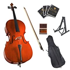 Size 4/4 Cello (Full Size) Spruce top with maple back, neck and sides Hardwood fingerboard and pegs, alloy tailpiece with 4 built-in fine tuners Includes: padded lightweight soft carrying case, Brazilwood cello bow, a cello stand, an extra set of cel...