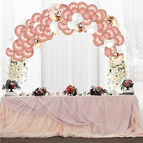 VDSOIUTYHFV Kit de Arco de Globos de Oro Rosa, 130 Piezas de Guirnalda de Globos, decoración Fiesta cumpleaños Oro Rosa, Globos Confeti Oro Blanco y Rosa