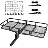 Ark Motoring Hitch Cargo Carrier with Tie Down Straps and Net, 60 x 24 x 6-Inch, 500 lbs Capacity, 2-Inch Folding Shank, Black Steel