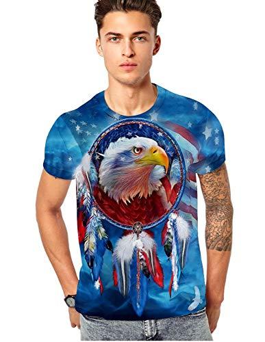XIAOBAOZITXU T-Shirt 3D Digital Printing Korte mouw Unisex Paar Kostuum Eagle Blue Sky Cool Grappig Losse Sport Mode Grote Maat T-Shirt