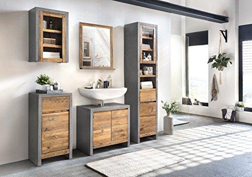 Woodkings® Bad Set Burnham Echtholz recycelte Pinie Natur rustikal Badmöbel Set modern Loft Badezimmerset Holz Badschrank Set (Grau)
