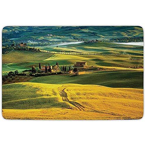 FANCYDAY Badkamer Tapijt Mat, Toscane, Idyllische Landschap van Toscane Weg en Cypressen naar Middeleeuwse Boerderij Beeld, Mosterd en Groen, Flannel Microfiber