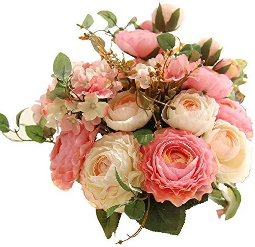 Lovefei - Ramo de flores artificiales de seda y plástico (peonías pequeñas, hortensias, claveles), decoraciones, arreglos florales realistas, decoración de bodas, centros de mesa, 2 paquetes