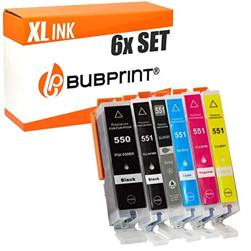 Bubprint 6 Druckerpatronen kompatibel für Canon PGI 550 XL 550XL BK CLI 551 551XL für Pixma IP8750 MG6350 MG7150 MG7550 IP8700 MG7500 Series Multipack