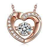 DANCING HEART Women Gifts for Christmas 925 Sterling Silver Love Heart Pendant Necklace Rose Gold Plated Jewelry with 5A Cubic Zirconia Birthday Gifts for Daughter Wife Girlfriend Sister