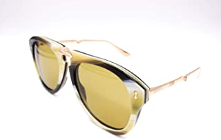 fdaa9ee9f70 Gucci GG0305S 003 Foldable Beige Striated Plastic Aviator Sunglasses Green  Lens