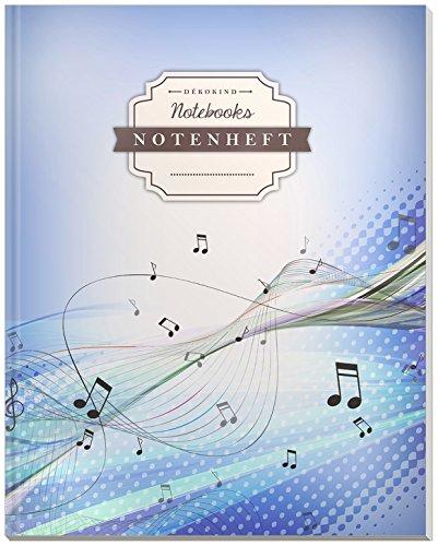 DÉKOKIND Notenheft | DIN A4, 64 Seiten, 12 Notensysteme pro Seite, Inhaltsverzeichnis, Vintage Softcover | Dickes Notenbuch | Motiv: Modern