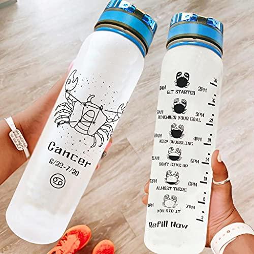 Hothotvery Botella de agua deportiva impresa con estrellas, caracteres, marcas, botella de agua, sin BPA, 1 L, sostenible, para escuela, color blanco, 1000 ml