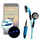 DURAGADGET Auriculares In-Ear con Luz LED Azul para Smartphone Meizu Pro 7 / Leagoo KIICAA...