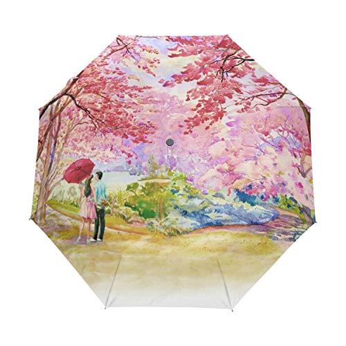 Malerei Wild Kirsche Rosa Regenschirm Auf-Zu Automatik UV-Schutz Taschenschirm Winddichter Umbrella Klein Leicht Schirm Kompakt Schirme für Jungen Mädchen Reise Strand Frauen