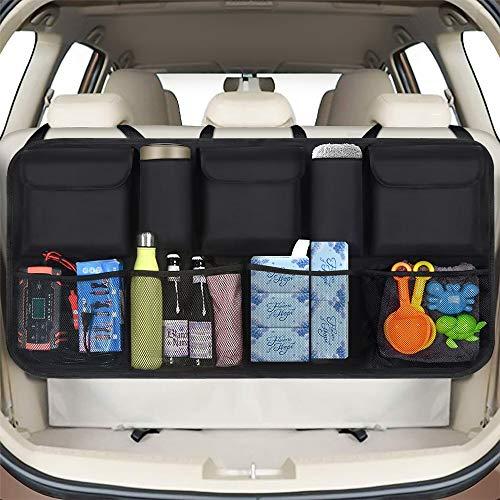 phixilin - Organizador para maletero de coche, bolsa de almacenamiento para coche con 9 bolsillos, fijación con velcro, impermeable, paño de Oxford para SUV/MVP, color negro (106 x 52 cm)